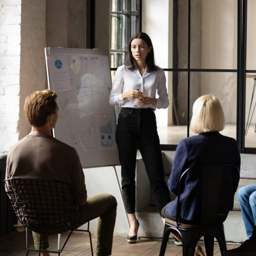 Confident,Lady,Business,Trainer,Coach,Leader,Give,Flip,Chart,Presentation